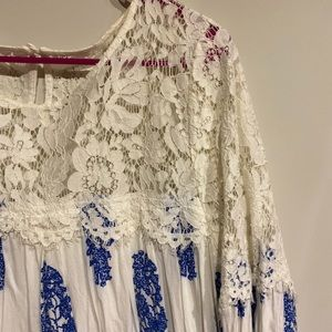 Lace Dress 👗 white & blue ✨